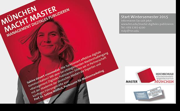 Anzeige Hochschüle München Master Digitales Publizieren