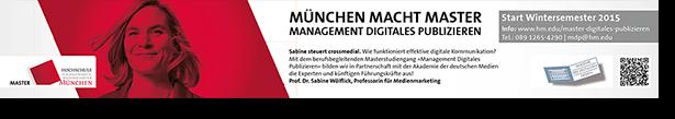 U-Bahn-Plakat Hochschüle München Master Digitales Publizieren