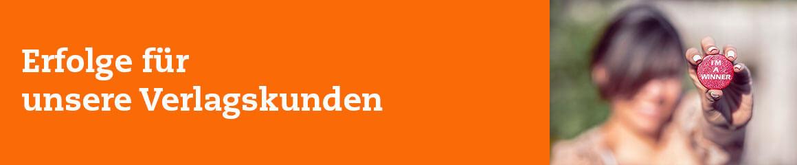 Header-Bild orange für «Erfolge für unsere Verlagskunden»