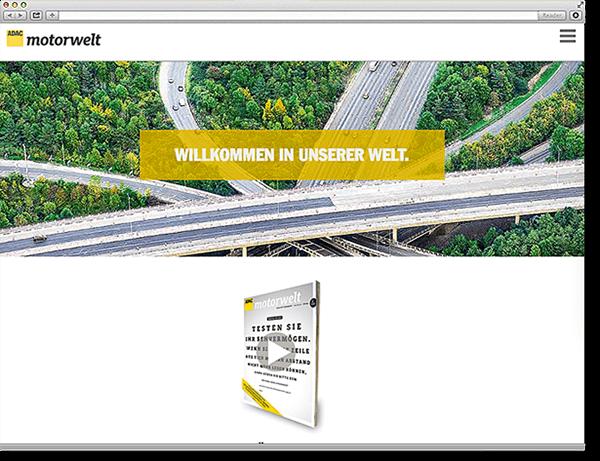 ADAC Motorwelt: Onepager, Scroll Site, animierte Diagramme, Flippage, Movies, Responsive, Typo3