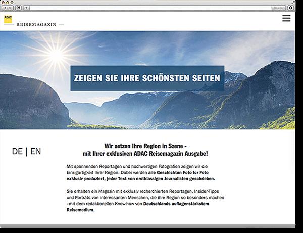 ADAC Reisemagazin Postaussendung:Onepager, Scroll Site, Parallax, Responsive, Typo3