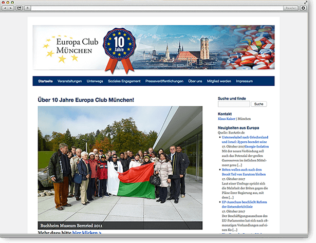 Europa Club München Website: Responsive, Wordpress
