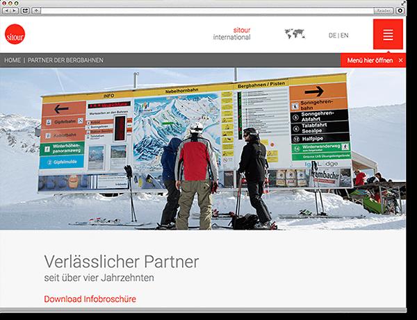 Landingpage sitour Bergbahnen