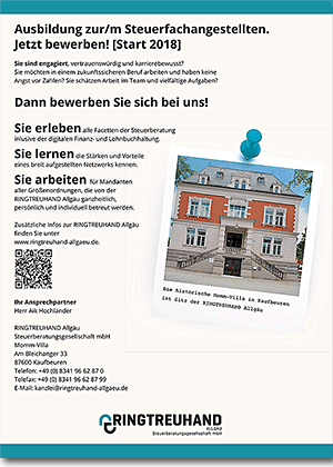 Anzeige für das Ausbildungsmagazin Allgäuer Zeitung der Ringtreuhand Allgäu