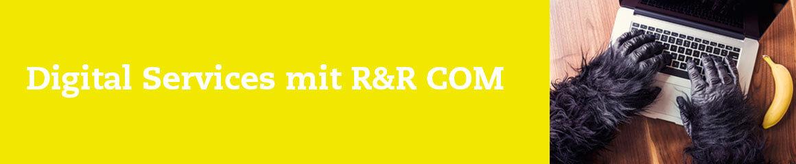 Header-Bild gelb mit Gorilla für «Digital Services mit R&R COM»